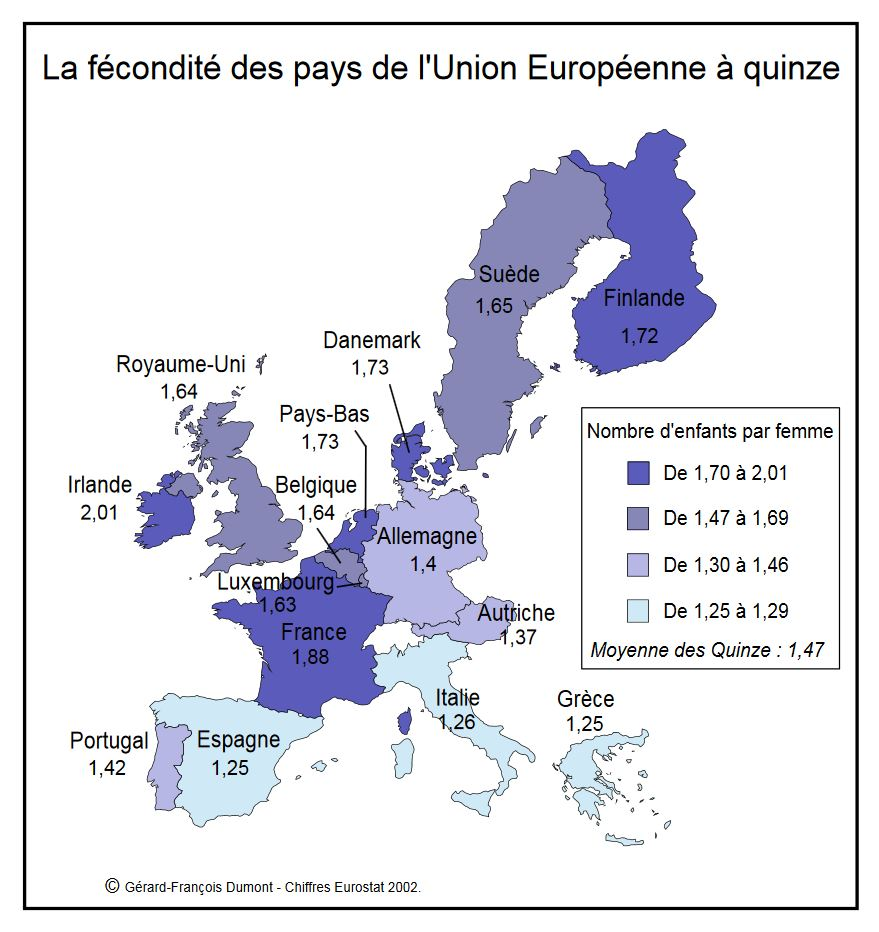 La fécondité des pays de l'Union Européenne à quinze