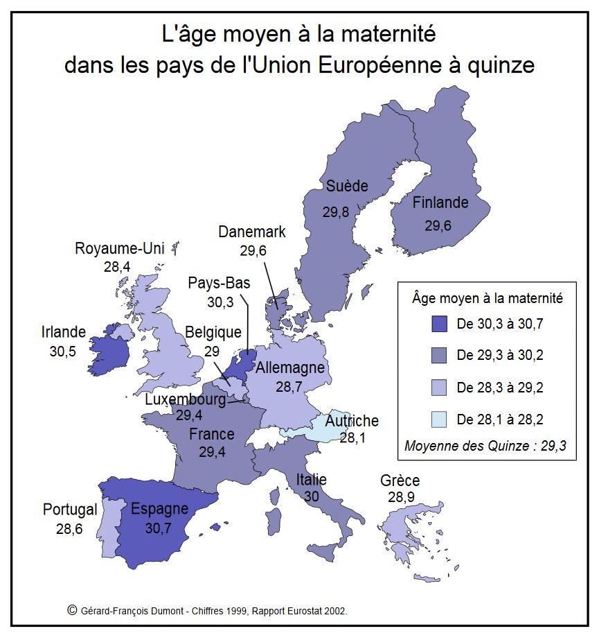 L'âge moyen à la maternité dans les pays de l'Union Européenne à quinze