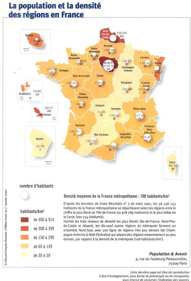 La population et la densité des régions en France