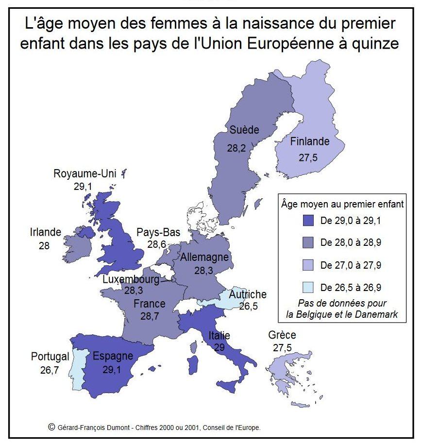 L'âge moyen des femmes à la naissance du premier enfant dans les pays de l'Union Européenne à quinze