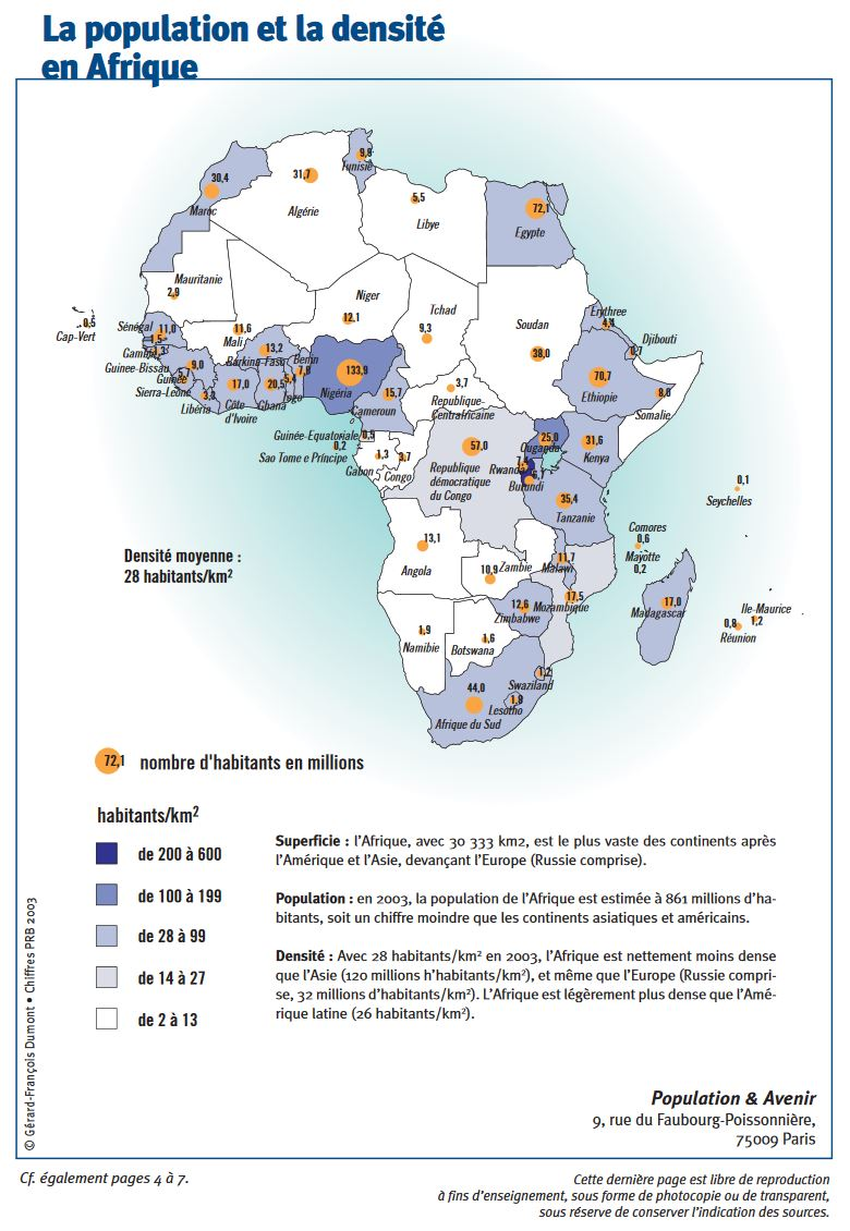 La population et la densité en Afrique